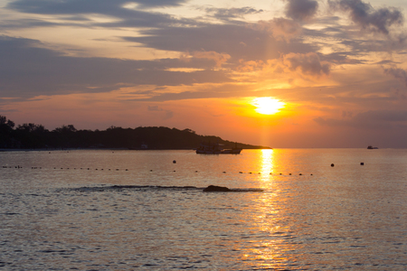 view in morning at the beach with sunrise,Koh Samet Thailand