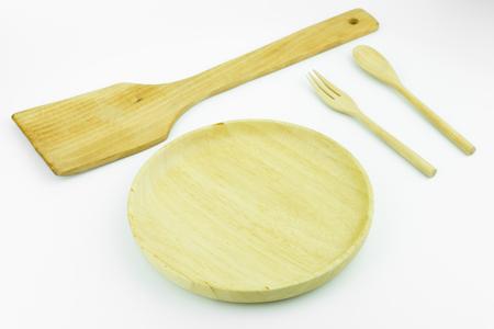 utensilios de cocina: wooden cookware on white background