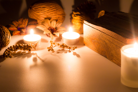 wooden box and herb, look feel relax with candle light, warm light tone Stock Photo