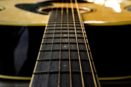 Detail der klassischen Gitarre mit geringen Schärfentiefe