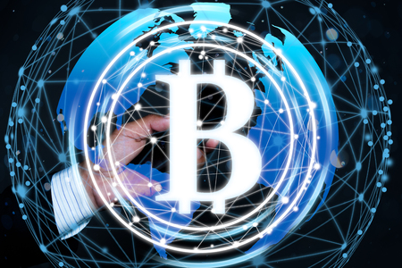 bitcoin digital currency on world map, futuristic digital money, technology worldwide network concept.