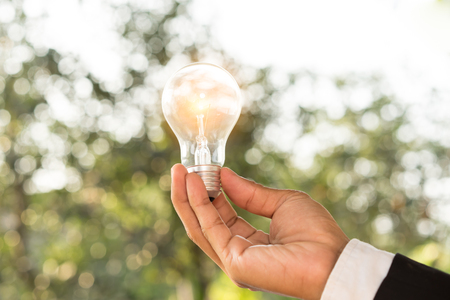 hand holding a light bulb with sunset power concept