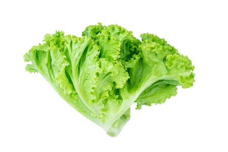 Salad leaf. Lettuce isolated on white background.	 Stock Photo