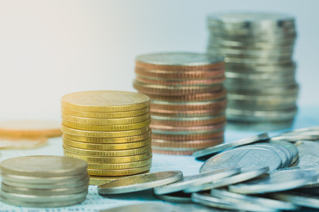 Coin stacks for finance and banking concept