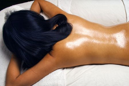 oil massage: Huile de massage au Spa