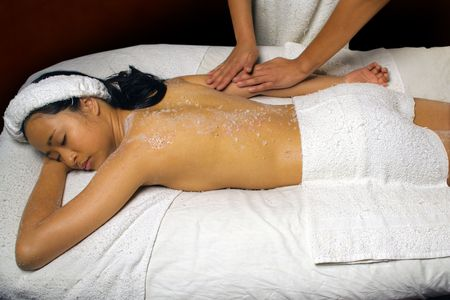 bath salt: Sea Salt Scrub Massage Rub Stock Photo