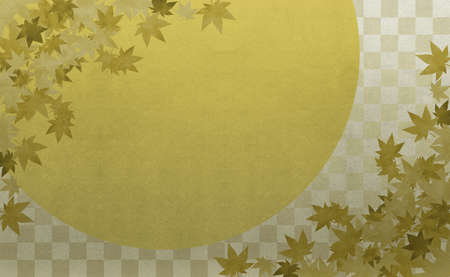 Background material to feel the sum Gold Ichimatsu pattern autumn leaves