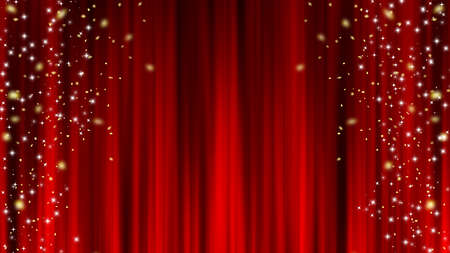 Star Confetti Red Curtain Stage Curtains Star Decoration Confetti. Red curtain material. Drape curtain.