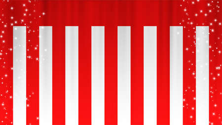 Red and White Curtain Limelight Star Celebration Background Material