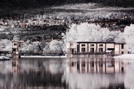 miror: infrared hydroelectric power station Stock Photo