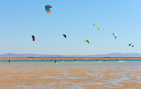 a group of kite surfers out riding in sea lagoon, Dahab, Egypt, november 2012