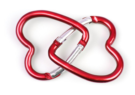 two connected heart-shaped carabiner, red color