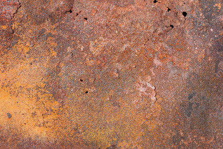 old metal exfoliating sheet with red and yellow rust, holes and cracks, texture