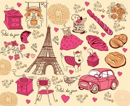 traino: Impostare i simboli di Parigi. Disegno a mano