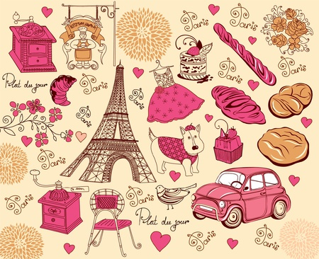 french bakery: Set symbols of Paris. Hand drawing