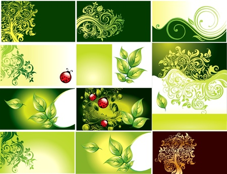 Business card with green foliage  Vector