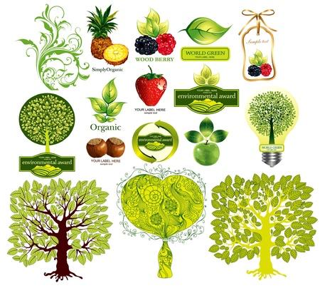 antipollution: Vector de conjunto de iconos de eco