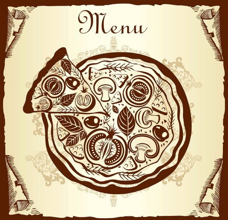 Design menu with pizza Vector