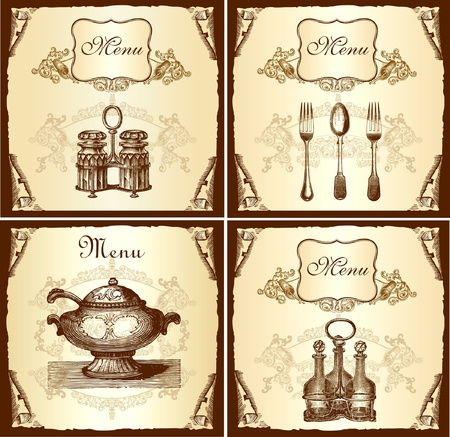 bistro: Retro design cover menu Illustration