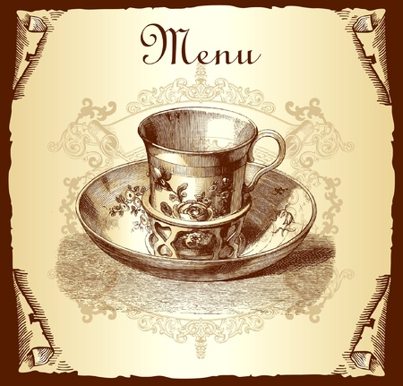 vintage cafe: Menu di copertura design retr�