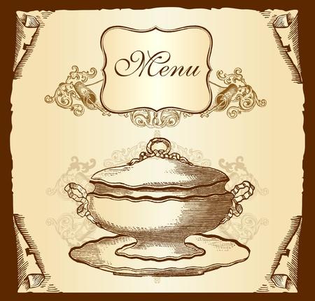 taverns: Retro design cover menu Illustration