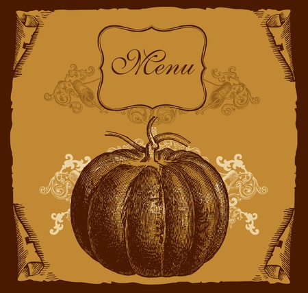 recipe book: Design cover menu with pumpkin