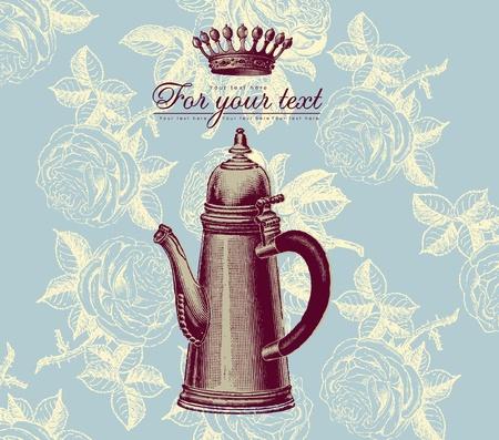 teapot: Vector retro design menu Illustration