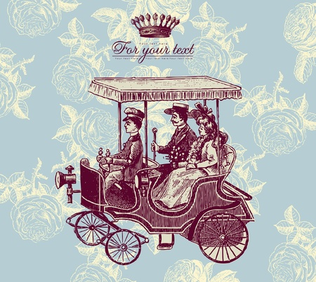 Retro card with carriage Stock Vector - 9655358