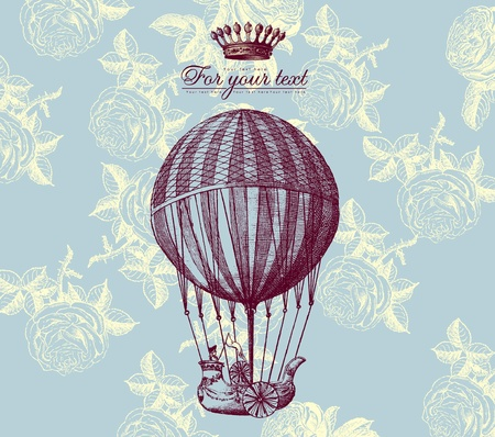 Vector vintage card with baloon Stock Vector - 9655370