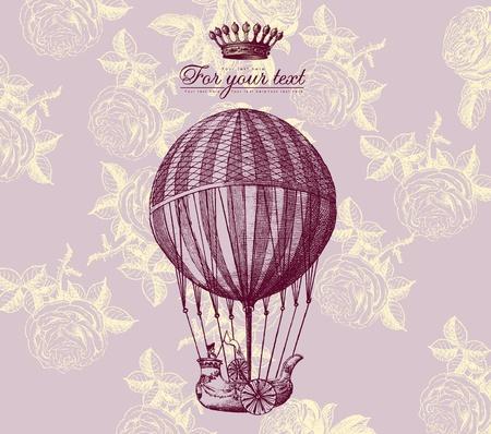 ballon dirigeable: Carte vintage vecteur avec ballon Illustration