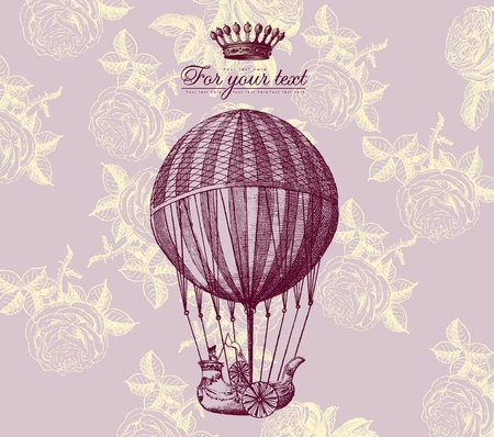 airship: Vector vintage card with baloon