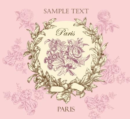古美術品: 花輪とパステルの穏やかなバラ ベクトル ラベル  イラスト・ベクター素材
