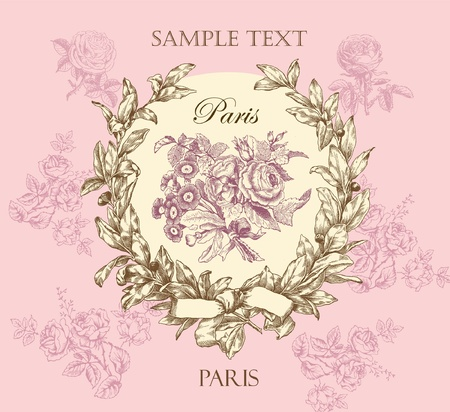 french style: Pastel gentle rose vector label with wreath Illustration