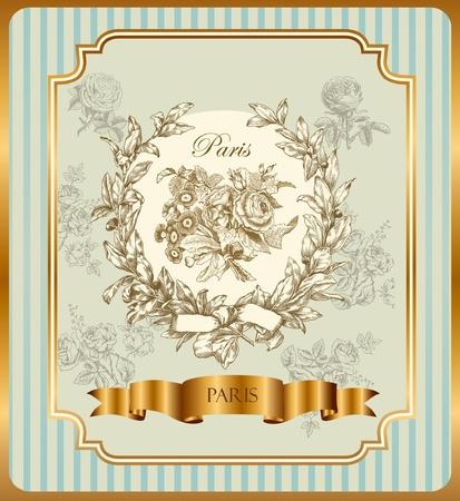 french label: Etiqueta de vector pasteles con corona y rosas Vectores