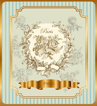 french symbol: Pastel vector label with wreath and roses Illustration
