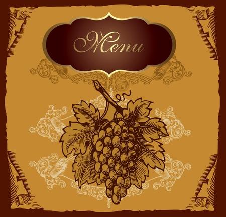 french label: Etiqueta cosecha con uva