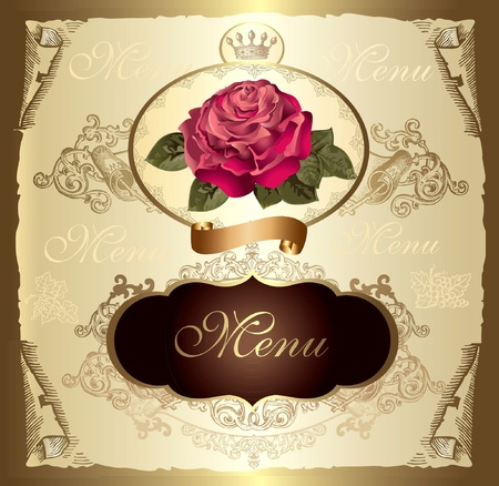 Vintage label with rose Vector