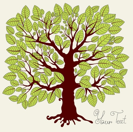 Vector illustration with green tree Stock Vector - 9655271