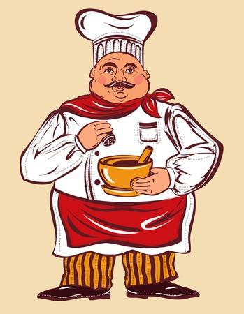 ector cartoon illustration with fun cook Vector
