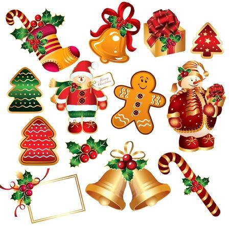 Set New Year symbols and elemnts Stock Vector - 9655385