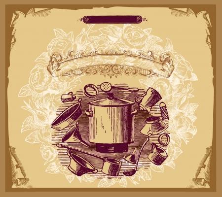 food package: Retro design cover menu Illustration