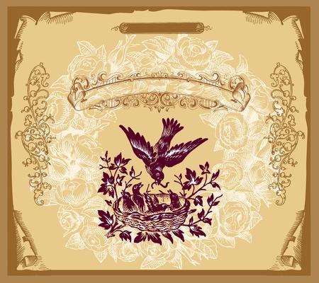 inn: Retro design cover menu Illustration