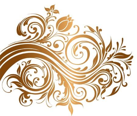 Hermoso adorno de oro con flores y rizos Ilustración de vector