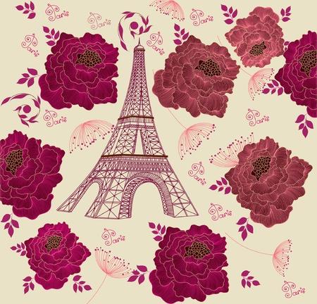 Karte mit Eiffelturm