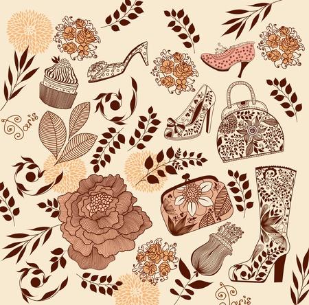 feminine background: conjunto de elementos de la moda