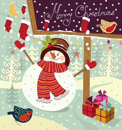 christmas bird: snowman with gifts