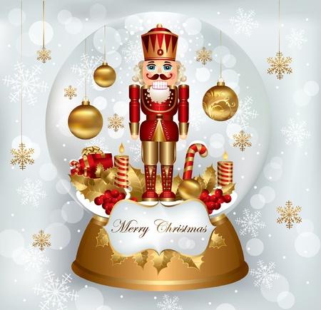 Christmas snowglobe with Nutcracker