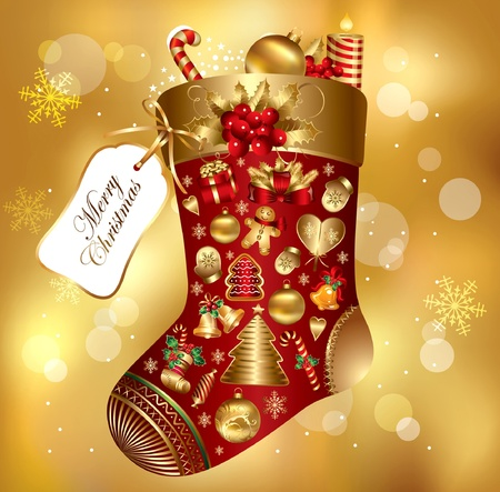Gift Christmas sock decorated Stock Vector - 9821555