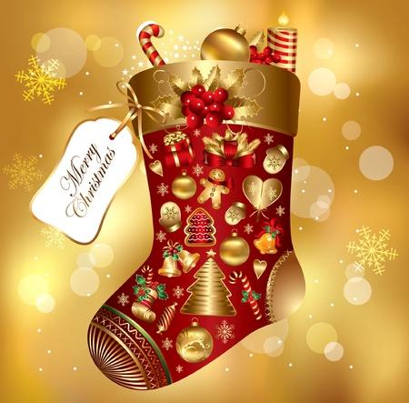 boule de neige: Noël de cadeau décoré chaussette