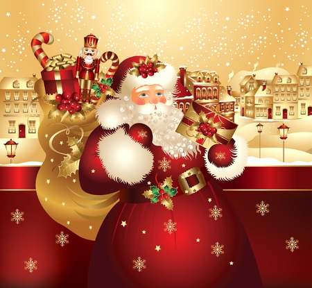 nutcracker: Christmas banner with Santa Claus